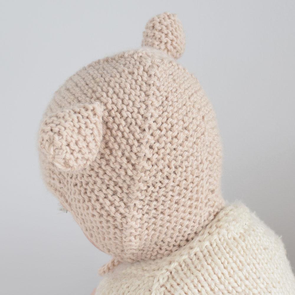 Wełniana czapka bonetka - z uszami - miś - rękodzieło - ALOM