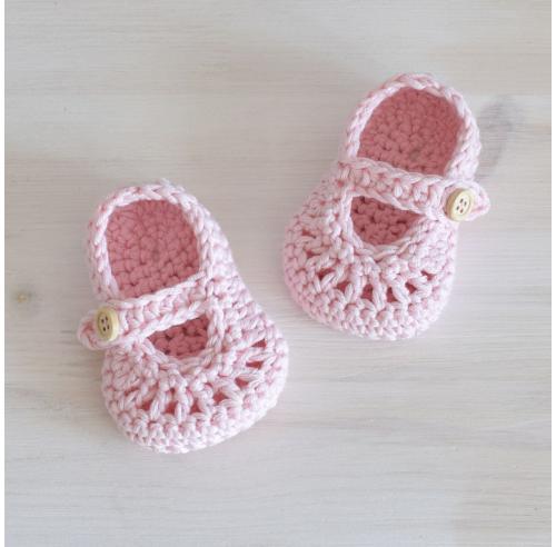 Buciki niemowlęce - baleriny - jasny róż - rękodzieło - ALOM