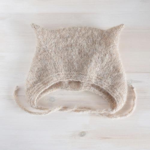 Bonetka kotek - kitty hat - alpaka z jedwabiem - handmade - ALOM