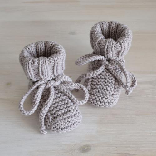 Buciki niemowlęce - kozaczki - beż -wełna merino - rękodzieło - ALOM