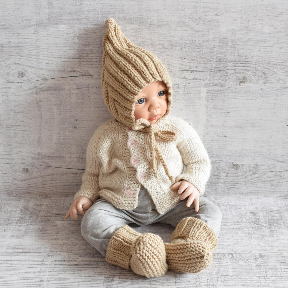 Komplet niemowlęcy - rękodzieło - merino blend - ALOM
