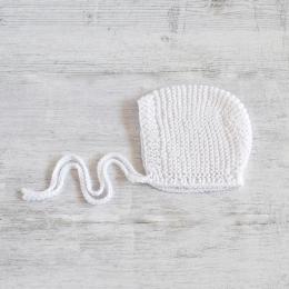 Czapeczka dla noworodka - ręcznie robiona na drutach - ALOM