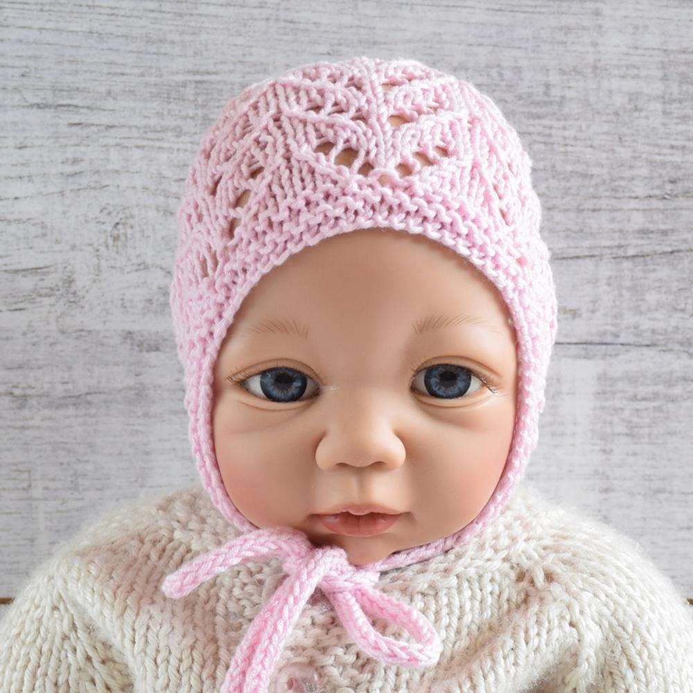 Bonetka dla dziewczynki - ręcznie robiona na drutach - ALOM