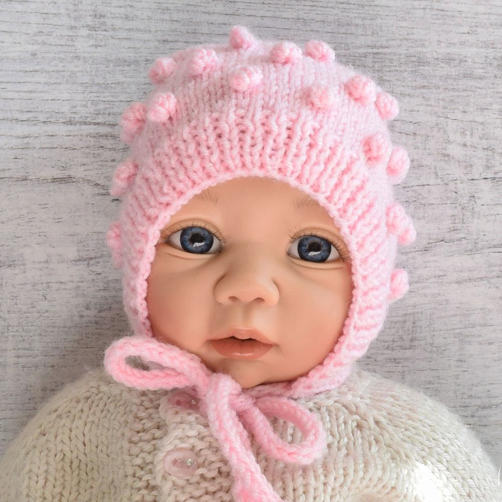 Czapka niemowlęca - rpbiona ręcznie na drutach - ALOM