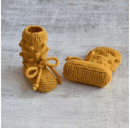 Buciki z bąbelkami - alpaka i wełna - handmade - ALOM