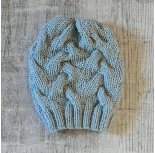 Czapka z warkoczami - ręcznie robiona na drutach - ALOM