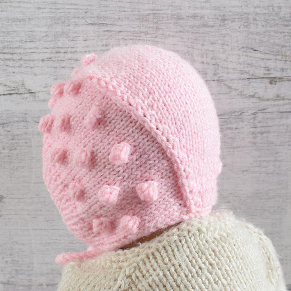 Czapeczka bonetka z bąbelkami - ciepła, na zimę - ALOM