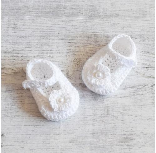Buciki niemowlęce - roobione na szydełku - chrzest - ALOM