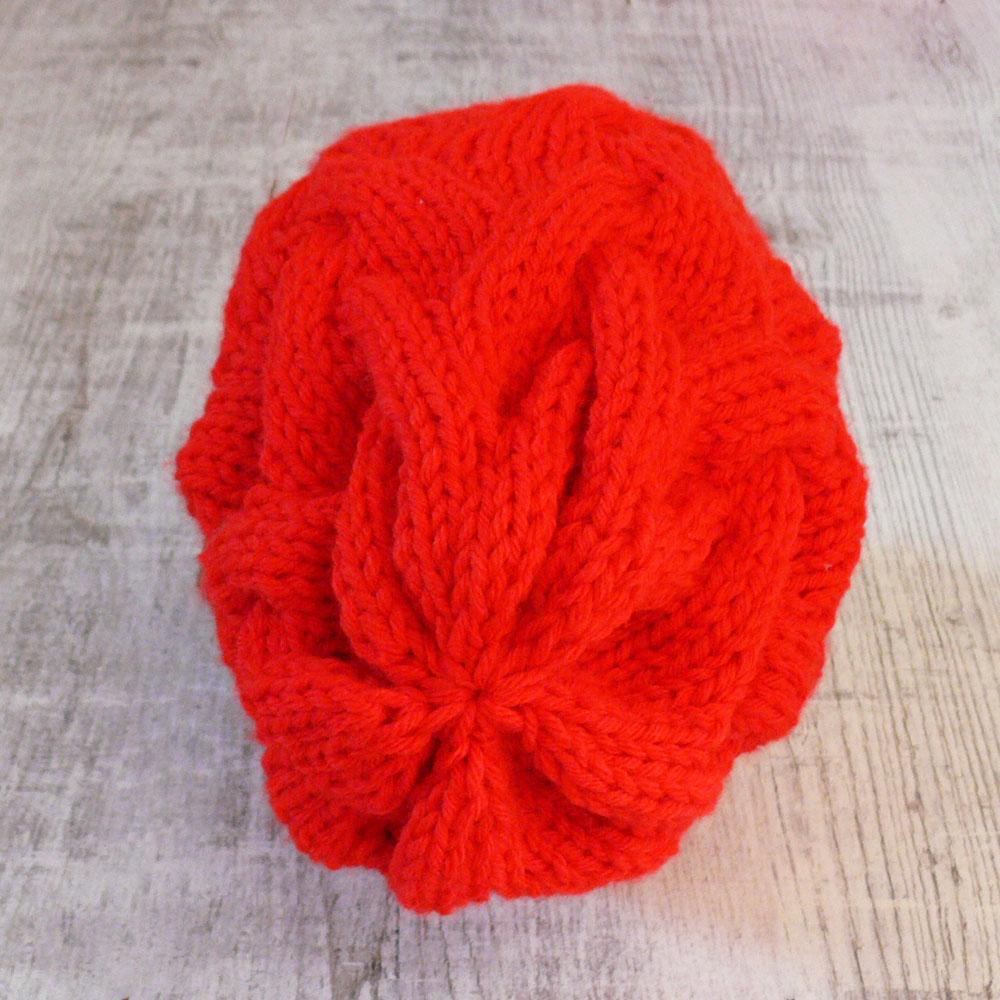 Gruba czapka na zimę - warkocze - rękodzieło - ALOM