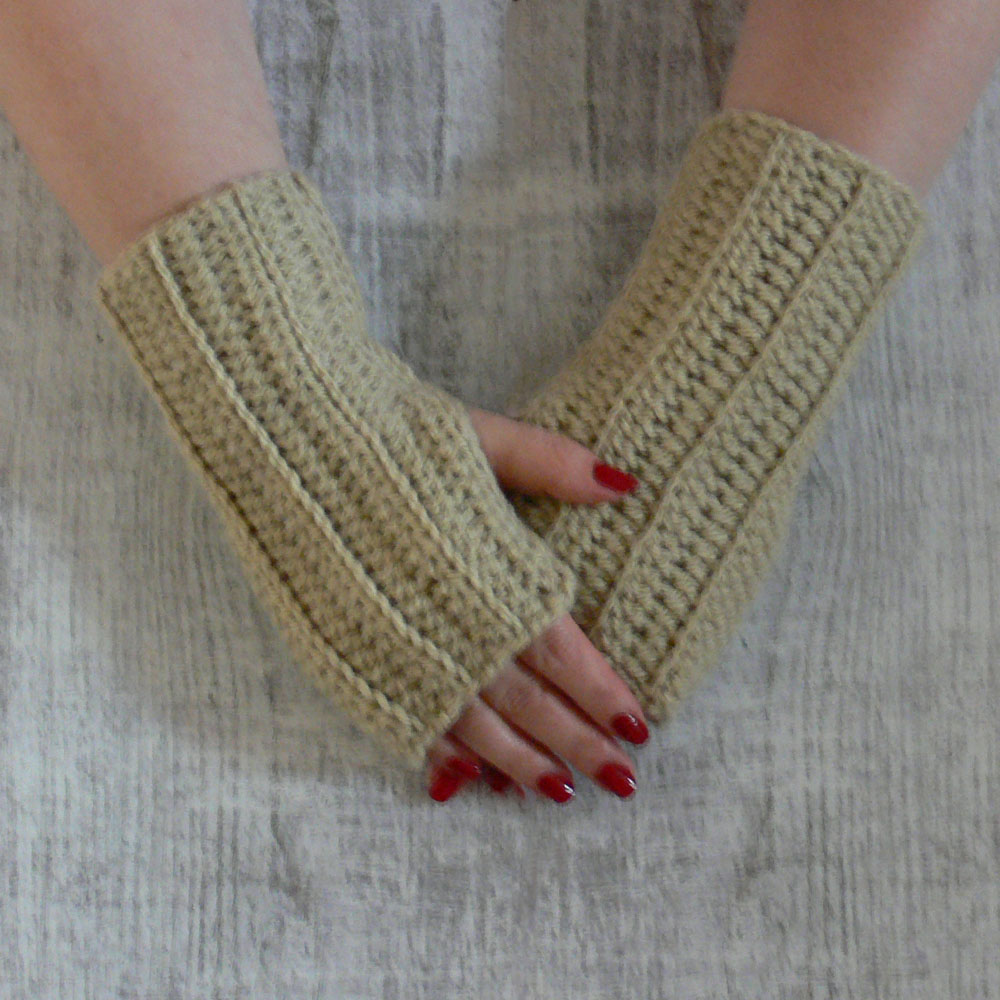 Mitenki - wełniane rękawiczki bez palców - rękodzieło - ALOM
