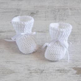 Buciki niemowlęce - szydełkowe botki - chrzest - ALOM
