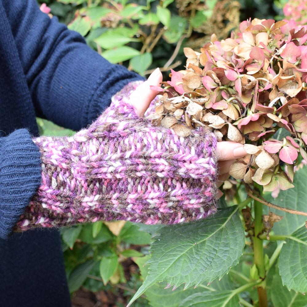 Rękawiczki mitenki - melanż -  handmade - ALOM