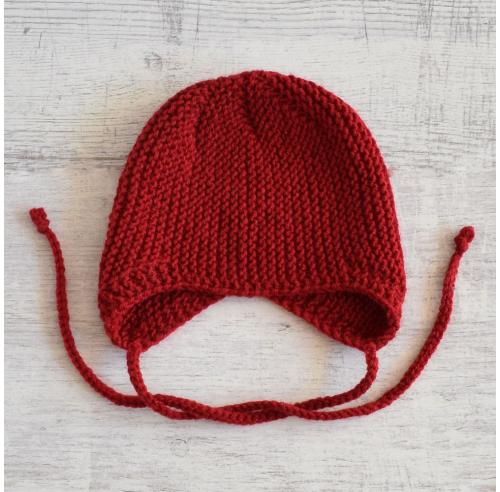 Czapka niemowlęca - robiona ręcznie na drutach - ALOM