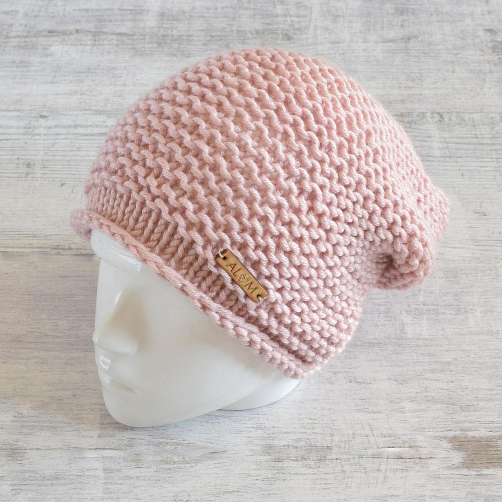 Czapka - slouchy hat - pudrowy róż - rękodzieło - ALOM