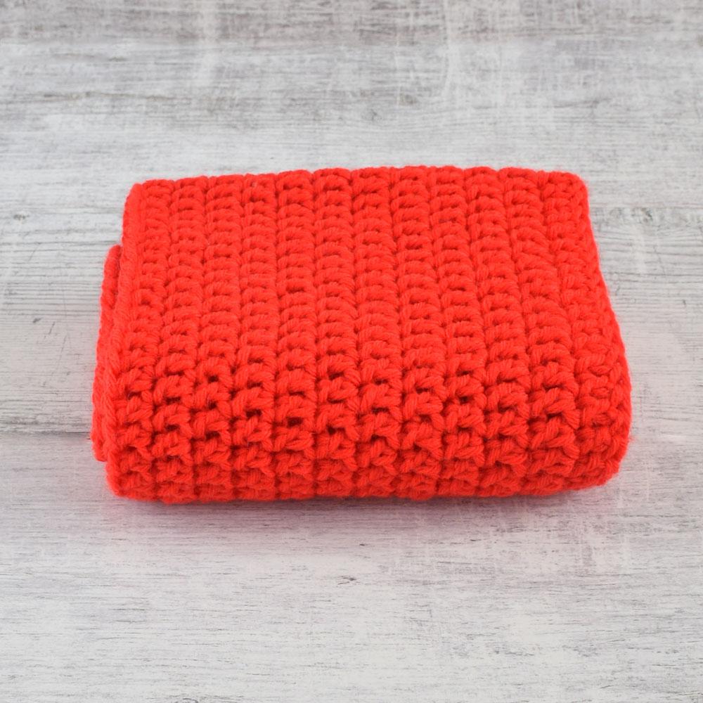 Czerwony szalik - komin - ręcznie robiony na  szydełku - ALOM