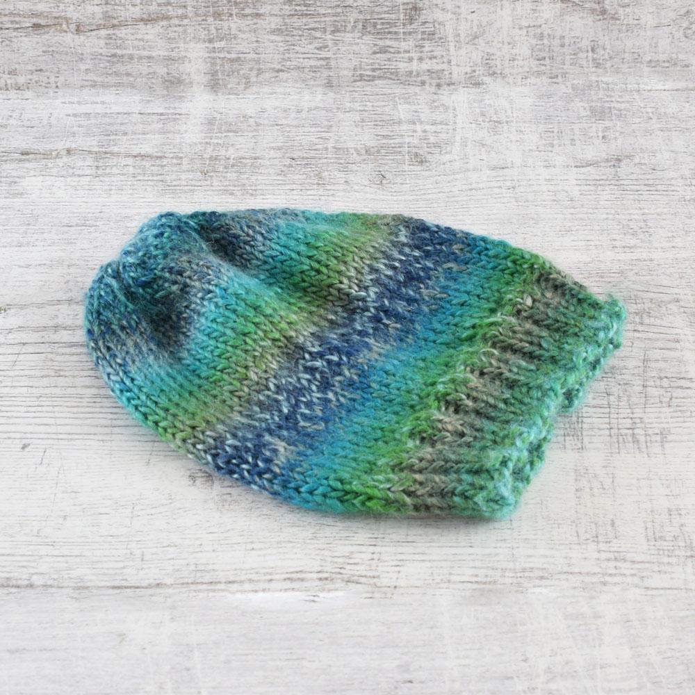 Czapka na zimę - robiona na drutach - z  wełną - ombre - ALOM