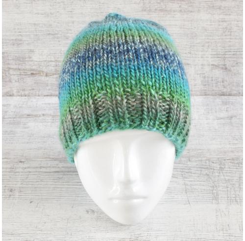 Damska czapka - przy głowie - cieniowana - rękodzieło - ALOM