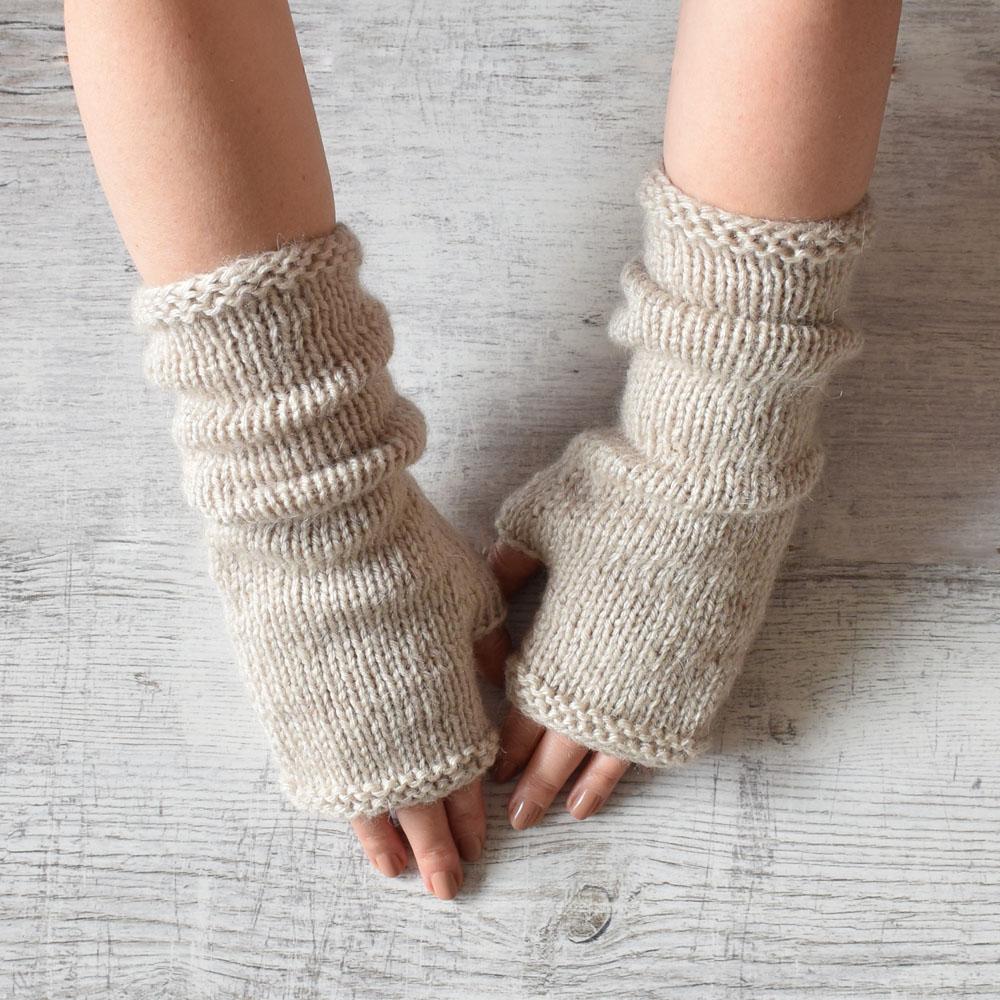 Długie, wąskie mitenki - rękawiczki bez palców - handmade - ALOM