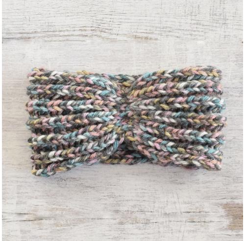 Szeroka opaska na głowę - ręcznie robiona na drutach - ALOM